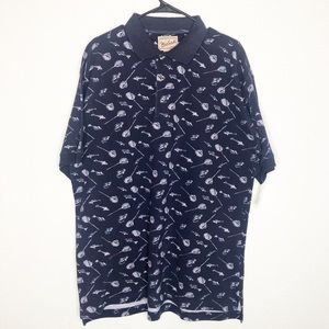 Woolrich Navy Blue Nautical Fish Polo Shirt Large